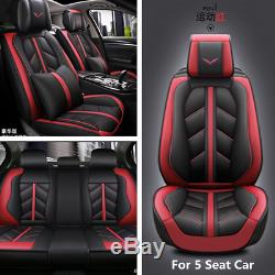 Luxury Microfiber Leather Car Seat Cover Cushion Breathable Fit For 5 Seat Car