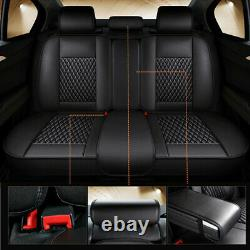 Luxury PU Leather 5-Seats Car SUV Seat Covers Front + Rear Cushion Set US Stock