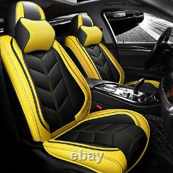 Luxury PU Leather Car Seat Covers Front&Rear Set uNIVERSAL 5-Seats Car SUV Truck