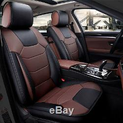 Microfiber Leather 5-Seats Car Seat Cover Front+Rear Cushion Mat WithPillow M Size