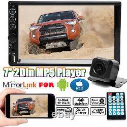 Mirror Link For GPS Double 2Din Car Stereo With Backup Camera Bluetooth Radio 7