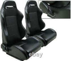 New 1 Pair Black Pvc Leather Car Adjustable Racing Seats All Toyota