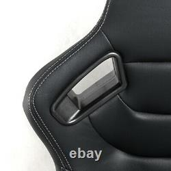 PU Leather Car Racing Seats Universal 180° Reclinable Seats With 2 Sliders Black