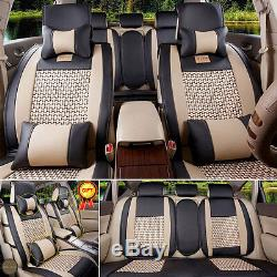 PU Leather Car Seat Cover 5 Seats Front+Rear Size L Mesh Cushion WithPillow Summer