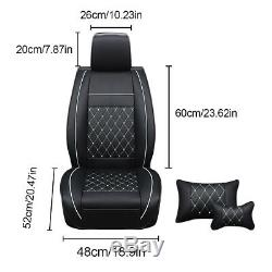 PU Leather Car Seat Cover Front&Rear Cushions Withpillows Full Kit L/M Size 5 Seat