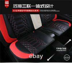 PU Leather Car Seat Cover Pillow Full Set Interior Cushion Black & Red Universal
