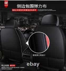PU Leather Car Seat Cover Protect Full Set Car Accessories Interior Black/Blue