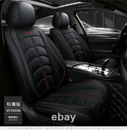 PU Luxury Leather Car Seat Full Set Covers Black Universal For 5 Seats Car