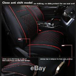 PU leather 5 Seats Auto Car Seat Cover Black With Red Size M With Neck&Lumbar Pillow
