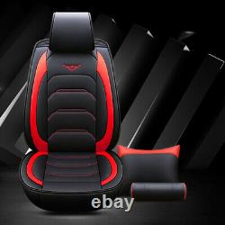 PU leather 5Seats Car Seat Cover Full Front+Rear Cushion WithPillow Black, red