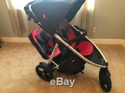 Phil Teds Vibe black red double jogging stroller carseat cot airport saddle bags