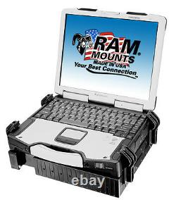 RAM Universal No-Drill Car/Truck Seat Track Mount for Larger Laptops 10-16