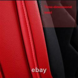 Red & Black PU Leather Car Seat Covers Full Set Luxury Interior For 5-Seats Car