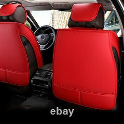 Red+Black Waterproof Car Seat Cover Universal Auto 5-Seat PU Leather Cushion Set