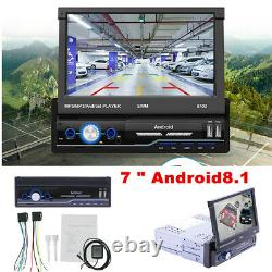 Single 1Din Android 8.1 Flip Car Stereo Radio 7in Touch Screen MP5 Player GPS