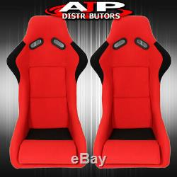 Spg Profi Style Full Bucket Racing Automotive Car Seats With Sliders Red Cloth