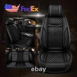 US 5-Seat Car PU Leather+Flax Seat Covers Cushion For Toyota Camry Corolla RAV4