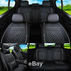 US 5-Seat Car Seat Cover Microfiber Leather Cushion Front+Rear Durable Covers