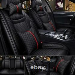 US Black PU Leather&Linen Car Seat Cover Cushion Set Universal 5-Seat Front Rear