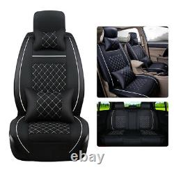US Car PU Leather Seat Cover 5 Seats SUV Front+Rear Cushion Set WithPillows Size L