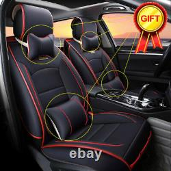 US Car Seat Cover Full Set PU Leather 5-Sit Front+Rear Protector Cushion 4Season