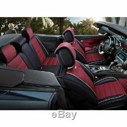 US Car Seat Covers PU Leather 5-Seats Front Rear Cushion Mess Pillow All Season