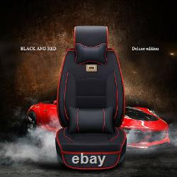 US Deluxe PU leather Car SUV Seat Cover 5-Seats Full Front+Rear Cushion WithPillow