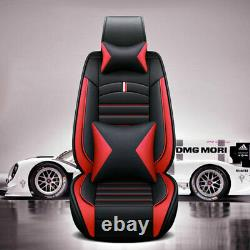 US Luxury 4D Black&Red Car Seat Covers +Cushion Set Universal 5-Seats PU Leather