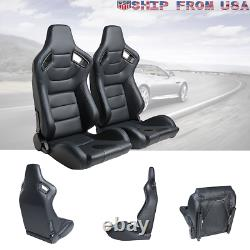 Universal 2pcs Car Racing Seats With2 Sliders Leather Durable Recline Seats Black