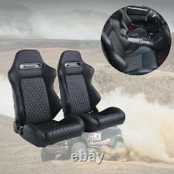 Universal 2pcs Car Racing Seats With2pcs Sliders PU Leather Full Wrap Sport Seats
