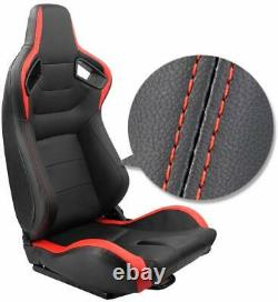 Universal 2pcs PU Leather Car Recline Racing Seats with2 Sliders Sport Racing Seat