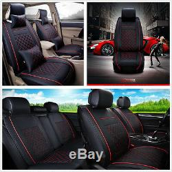 Universal Car Auto Seat Cover Cushion 5-Seats Front + Rear PU Leather withPillows