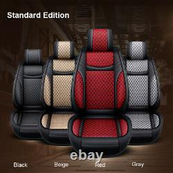 Universal Car SUV 5-Seat PU Leather+Flax Seat Covers Front+Rear Cushion Black