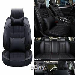 Universal Car Seat Cover Set 5-Seat Headrests+Cushions Luxury Black PU Leather