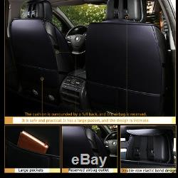 Universal Deluxe 5-Seats Car Seat Cover Front PU Leather +Rear Cushion WithPillow