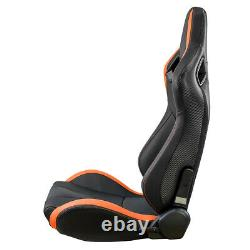 Universal PU Leather Car Sport Racing Seat Set Recline Racing Seats with2 Sliders