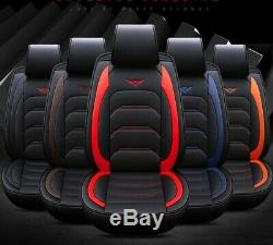 Universl 5 Seats Car Seat Cover PU Leather Full Set Cushion +WithN Pillows Black