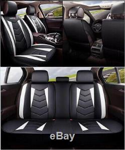 White Black Leather Car Seat Cover Waterproof Universal Fit all 5 Seats Vehicles